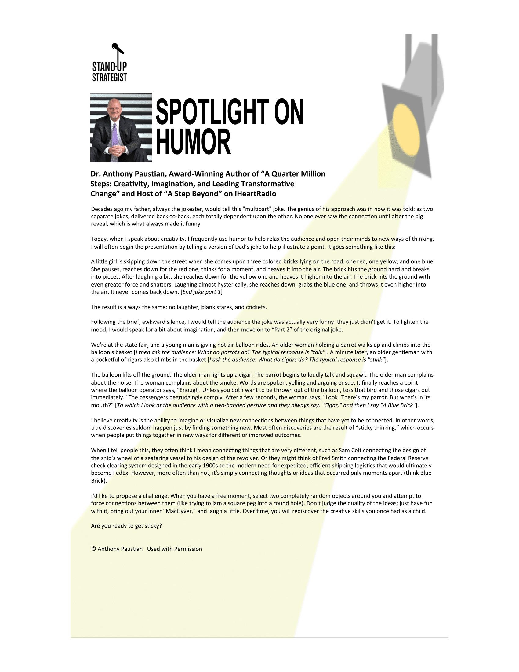 Dr. Anthony Paustian | Spotlight on Humor