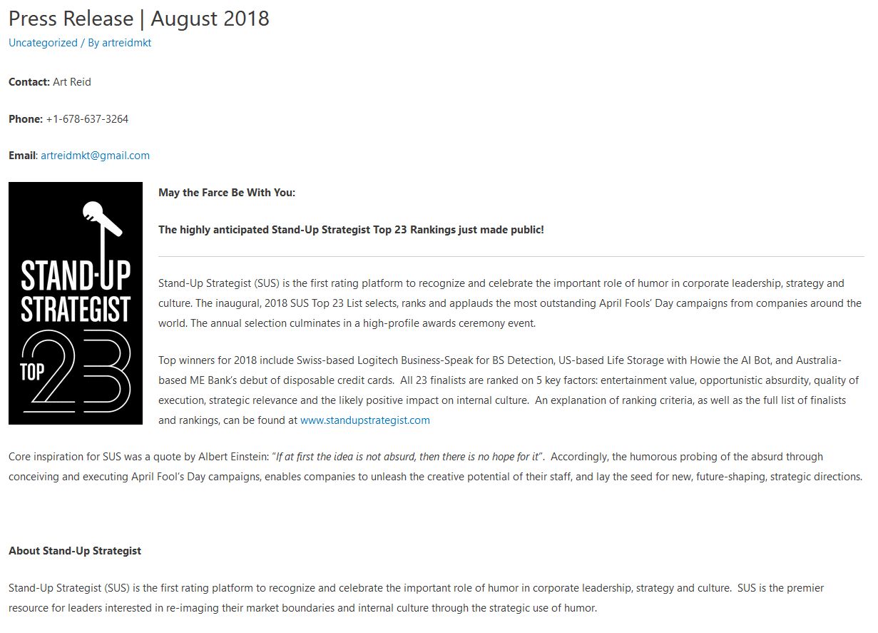 PRESS RELEASE | AUG 2018